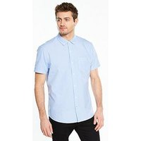 V by Very Short Sleeve Oxford Shirt - Blue , Blue Mix, Size Xl, Men