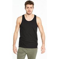 V by Very Basic Vest - Black, Black, Size L, Men