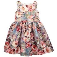 Mini V by Very Girls Floral Prom Jacquard Dress, Multi, Size 2-3 Years, Women