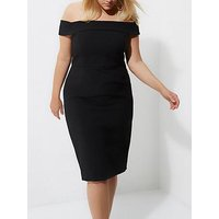 RI Plus Bardot Bodycon Dress- Black, Black, Size 26, Women