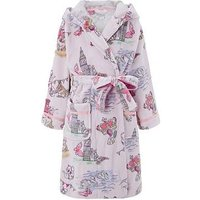 Monsoon Laila London Print Dressing Gown, Pink, Size Age: 7-8 Years, Women