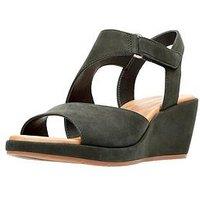 Clarks Un Plaza Sling Asymmetric Wedge Sandal - Black, Black, Size 7, Women