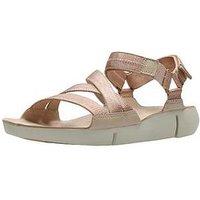 Clarks Tri Sienna Luxury Velcro Strap Flat Sandal - Rose Gold, Rose Gold, Size 8, Women
