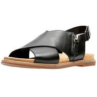 Clarks Corsio Calm Thick Strap Flat Sandal - Black, Black Leather, Size 3, Women
