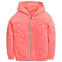 V by Very Neon Zip Through Hoody, Coral, Size Age: 9 Years, Women