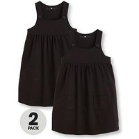 V by Very Girls Black 2 Pack Jersey Pinafore Dress, Black, Size Age: 8-9 Years, Women