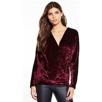 V by Very Crushed Velvet Wrap Top, Berry, Size 10, Women