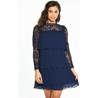 V by Very Petite Lace and Pleat Detail Dress, Navy, Size 14, Women