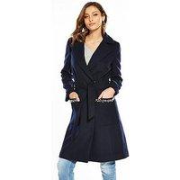 V by Very Pearl Trim Wrap Coat - Navy, Navy, Size 14, Women