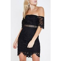RI Petite Lace Bardot Mini Dress- Black, Black, Size 6, Women