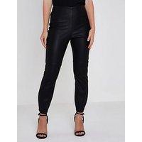 RI Petite Pu High Rise Trousers- Black, Black, Size 12, Women