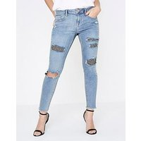RI Petite Ri Petite Alannah Sequin Detail Jeans- Light Blue, Blue, Size 4, Women