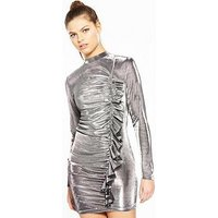 V by Very Unique Metallic Frill Dress, Metallic, Size 12, Women