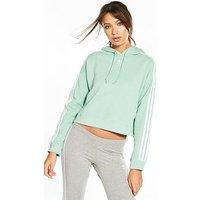 adidas Originals adicolor Cropped Hoodie - Mint, Mint, Size 10, Women