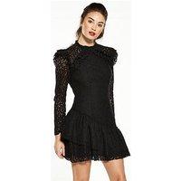 V by Very Asymmetric Frill Lace Dress, Black, Size 8, Women