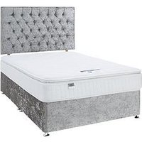 Product photograph showing Luxe Collection By Silentnight Florence 1000 Pillowtop Divan Bed And Storage Options Includes Headboard Silver
