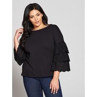 V by Very Curve Cotton Tiered Sleeve Cross Back Top - Black, Black, Size 28, Women