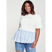 V by Very Curve Cotton Stripe Hem T-Shirt, White, Size 28, Women