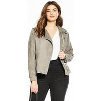 V by Very Curve Suedette Jacket, Grey, Size 28, Women