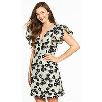 V by Very Floral Frill Jacquard A Line Dress, Floral, Size 16, Women