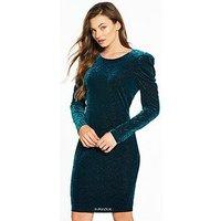 V by Very Velvet Animal Bodycon Dress, Teal, Size 10, Women