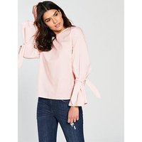 Vila Jenner Long Sleeve Bow Top - Pink, Pink, Size 10=M, Women