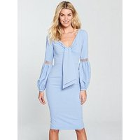 V By Very Tie Front Volume Sleeve Dress