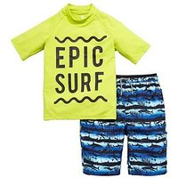 Boys, V by Very Rashvest & Shark Print Board Short Set, Lime, Size Age: 8 Years