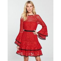 V by Very Lace Tiered Flippy Dress - Red, Red, Size 16, Women