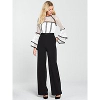 V By Very Lace Fluted Sleeve Jumpsuit - Ivory/Black