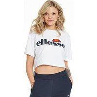 Ellesse Alberta Crop T-Shirt - White , White, Size 12, Women
