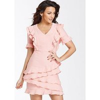 Michelle Keegan Textured Ruffle Bodycon Dress, Coral, Size 12, Women