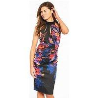 KAREN MILLEN Midnight Floral Signature Stretch Dress, Black/Multi, Size 10, Women