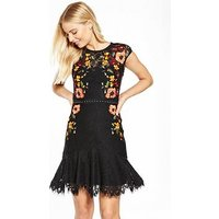 KAREN MILLEN Lace and Stud Embroidered Dress - Black, Black/Multi, Size 10, Women
