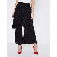 RI Petite Teired Frill Trouser- Black, Black, Size 8, Women