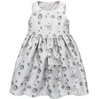 Mini V by Very Girls Metallic Silver Space Print Dress, Silver, Size 4-5 Years, Women