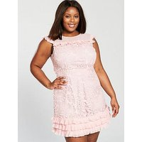 V by Very Curve Lace Pleat Detail Dress - Blush, Blush, Size 24, Women