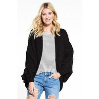 V by Very Cable Cocoon Slouch Cardigan - Black, Black, Size S, Women