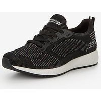 Skechers Skechers Bobs Squad Multifaceted Lace Up Trainer, Black, Size 7, Women