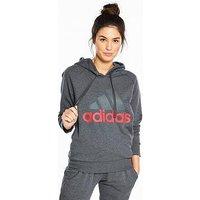 adidas Essentials Linear Hoodie - Dark Grey Heather , Dark Grey Heather, Size Xl, Women