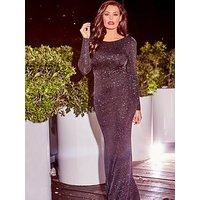 Jessica Wright Helen Sparkle Cowl Back Maxi Dress, Black, Size 18, Women