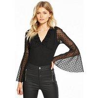 V by Very Petite Spot Mesh Bodysuit, Black, Size 8, Women