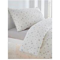 Silentnight Printed Stars Cot Bed Duvet Cover, Grey Stars