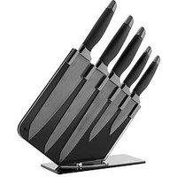 Tower Damascus 5-Piece Knife Set With Knife Block &Ndash; Mirror Black