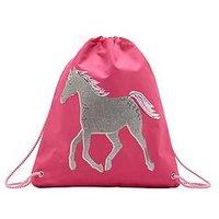 Joules Reflective Drawstring Bag, Bright Pink