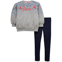 V by Very Girls Ombre Floral Sweat and Legging Outfit, Multi, Size Age: 14 Years, Women