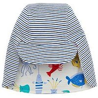 Joules Baby Soft Reversible Jersey Hat - Sea Time, Cream Multi, Size 0-6 Months