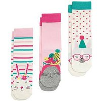 Joules 3 Piece C Novelty Sock Set - Party Animals, Cream Multi, Size 9-12, Women