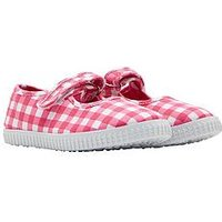 Joules Girls Velcro Strap Pump, Pink Gingham, Size 1 Older