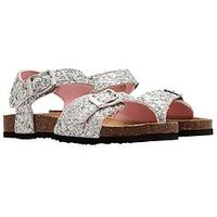 Joules Girls Tippy Toes Strap Sandal, Silver Glitter, Size 3 Older